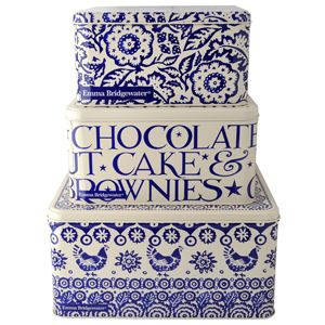 """""""Blue Hen Border"""" Blue Hen & Border Set of 3 Square Cake tins at Emma Bridgewater - love this new design from EB"""