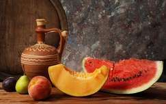 Watermelon Peach Pear Plum Summer Fruits