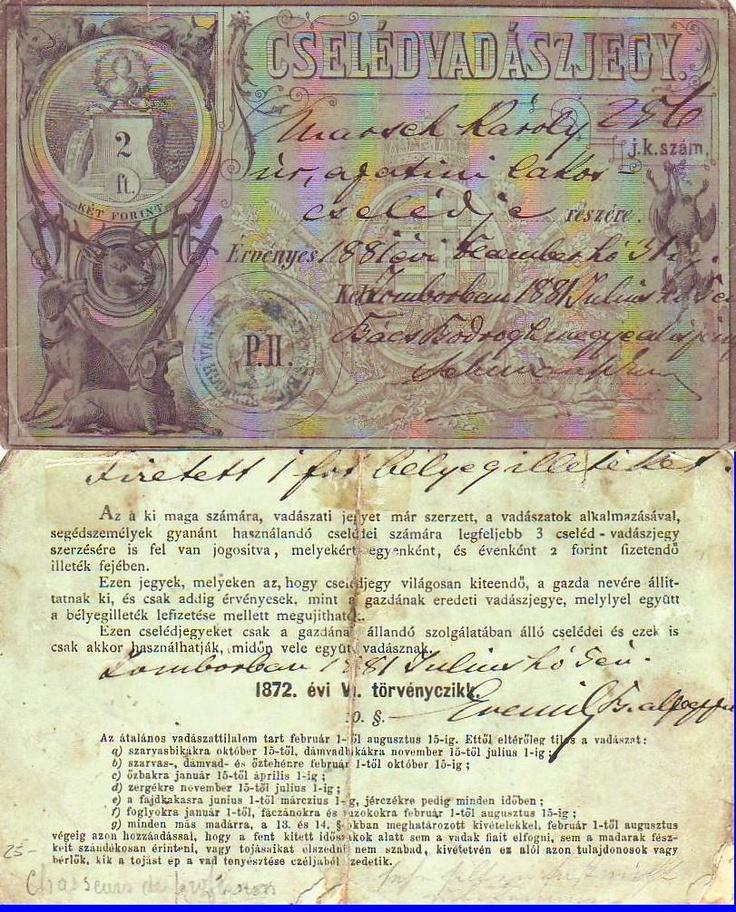 1881 Hungarian Hunting License