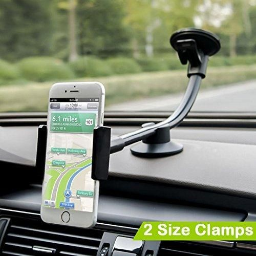 Car Mount 2 Clamps Long Arm Universal Windshield Dashboard Car Phone Mount Holder Cradle for iphone 7 Plus 6 6s Plus Samsung Galaxy S7 S6 Edge HTC LG and Most Type of Cell Phone - by Newward