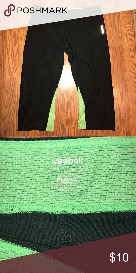Reebok Lime Green and Black Capri workout pants Reebok Lime Green and Black Capri workout pants Pants Leggings