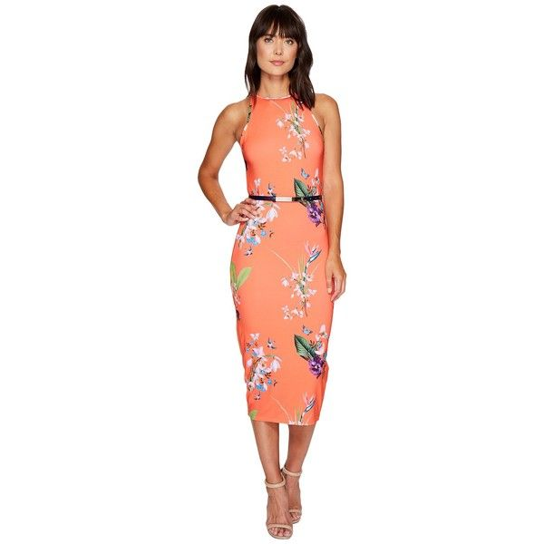 Ted Baker Joelia Tropical Oasis Bodycon Dress (Mid Red) Women's Dress ($195) ❤ liked on Polyvore featuring dresses, halter bodycon dress, red halter top, sheath dresses, red halter dress and red floral dress