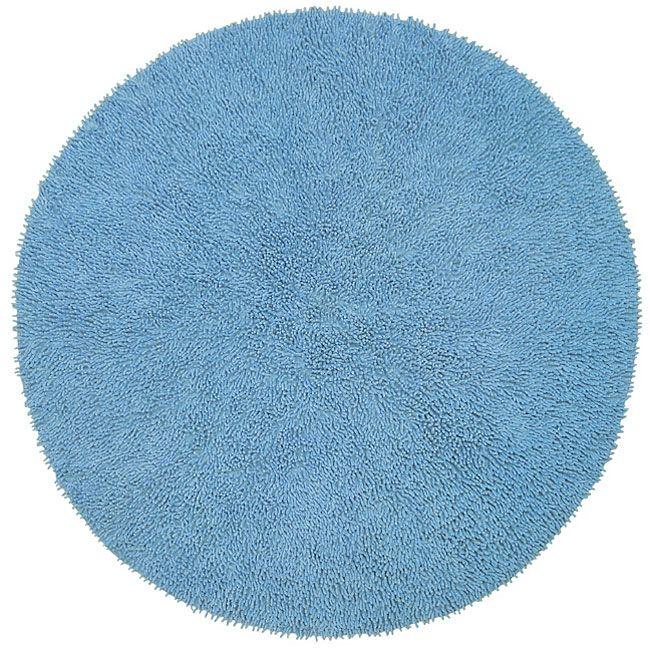 chenille blue shag rug 5u0027 round - Shaggy Rug