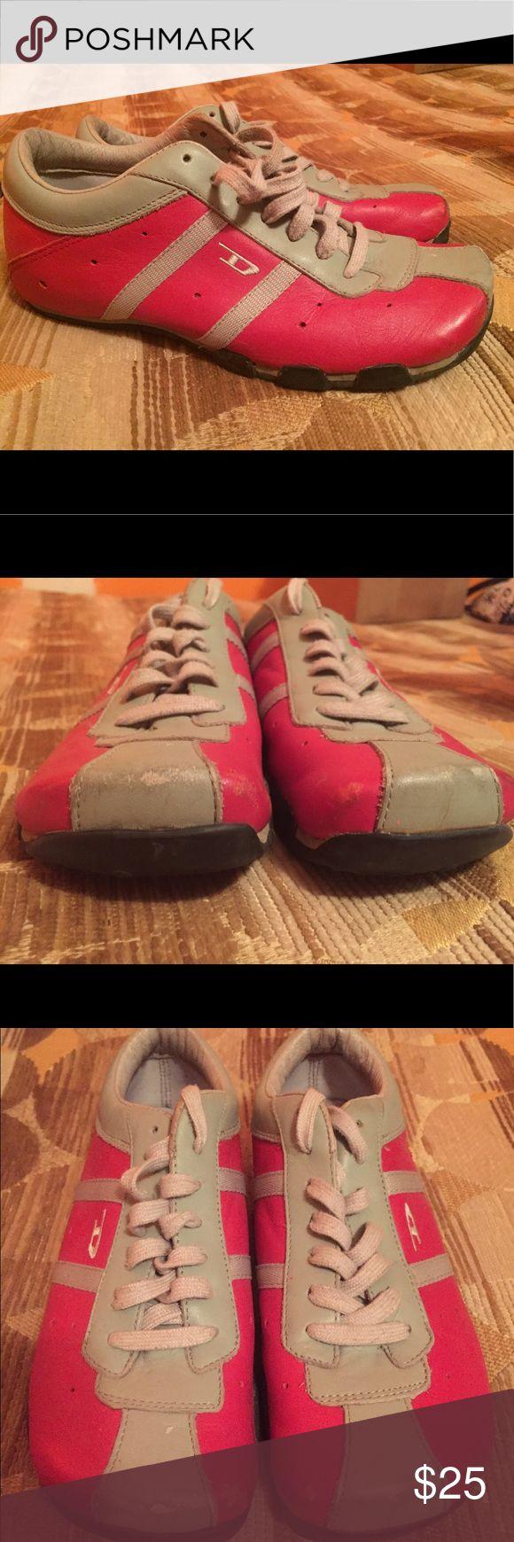 Diesel Evelyn 6.5 Red & Grey 1 pair of Diesel Evelyn in red and grey. Gently worn. See photos. Diesel Shoes Sneakers