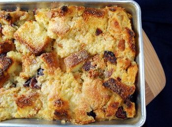 Eggnog Bread Pudding with Brandied Cranberries