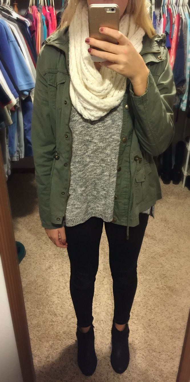 Fall outfit   Sweater: Charlotte Russe Scarf: Hollister Jacket: Rue 21 Jeans: target  Booties: Herberger's