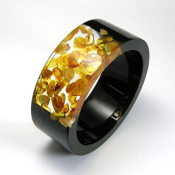 Ámbar pulsera, brazalete de resina transparente y negro con el ámbar, joyería de ámbar báltico Original