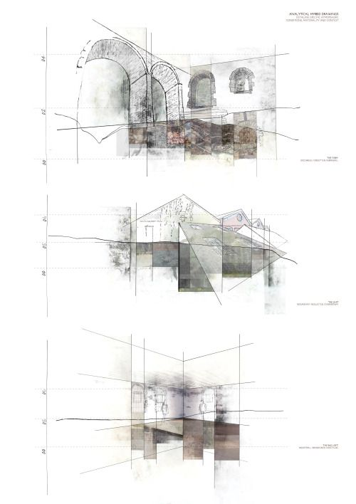 Analytical hybrid drawings documenting the existing site conditions of three isolated areas within the Mill site, specifically detail atmospheric, material and spatial conditions.