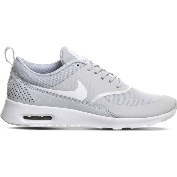 NIKE Air Max Thea trainers found on Polyvore featuring shoes, pure platinum white, mesh sneakers, white lace up shoes, nike footwear, mesh shoes and laced shoes