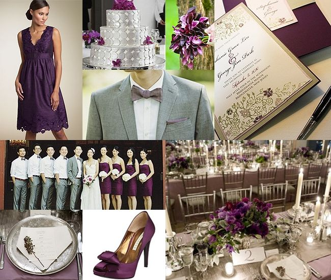 {Inspiration Board :: Platinum & Plum}This lucious Plum with pops of soothing of Platinum inspiration board.  When picking your wedding color palette, it's always a good idea to pair a rich, dark color with a light and lively color.  You will be so pleased with the end result!