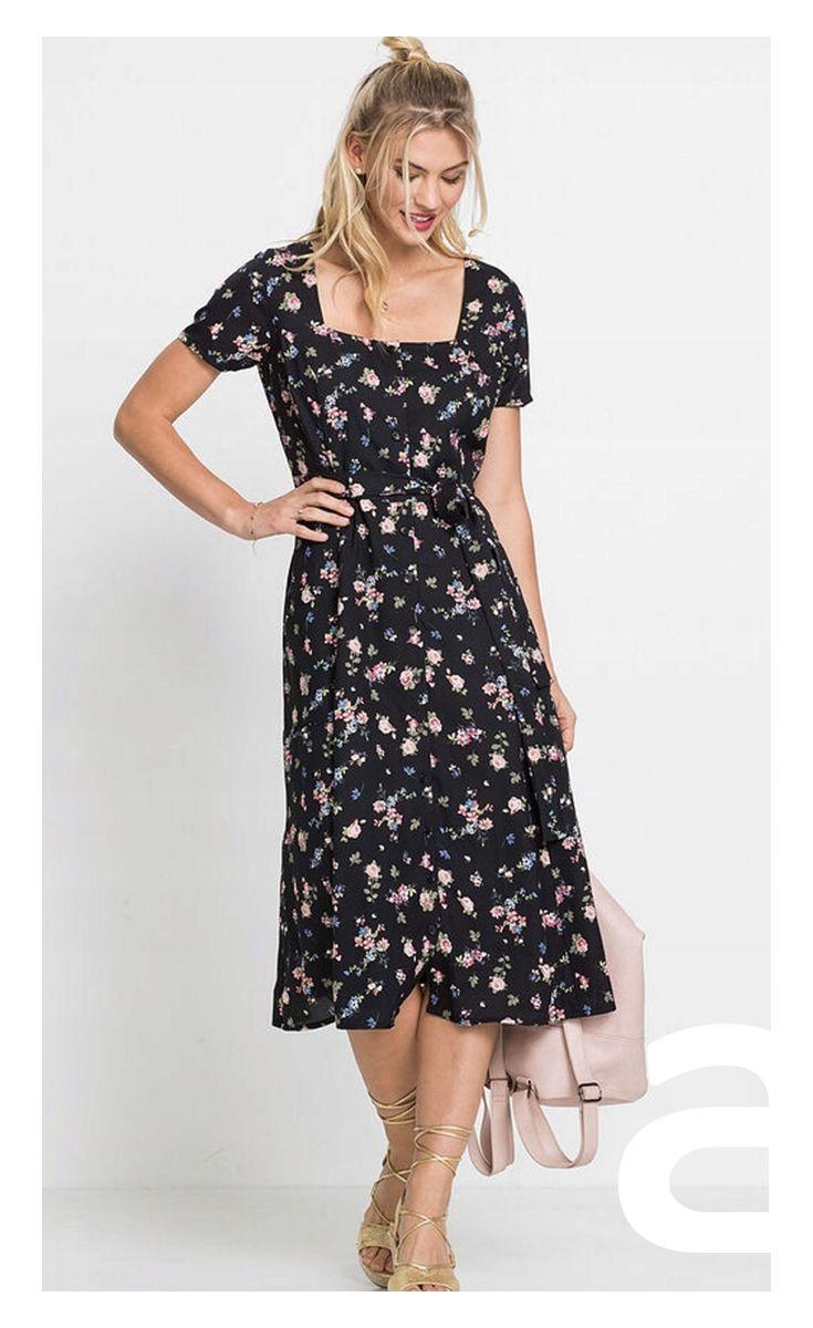 Sukienka Midi Sukienka W Kwiaty Romantyczna Stylizacja Dresses Fashion Dresses With Sleeves