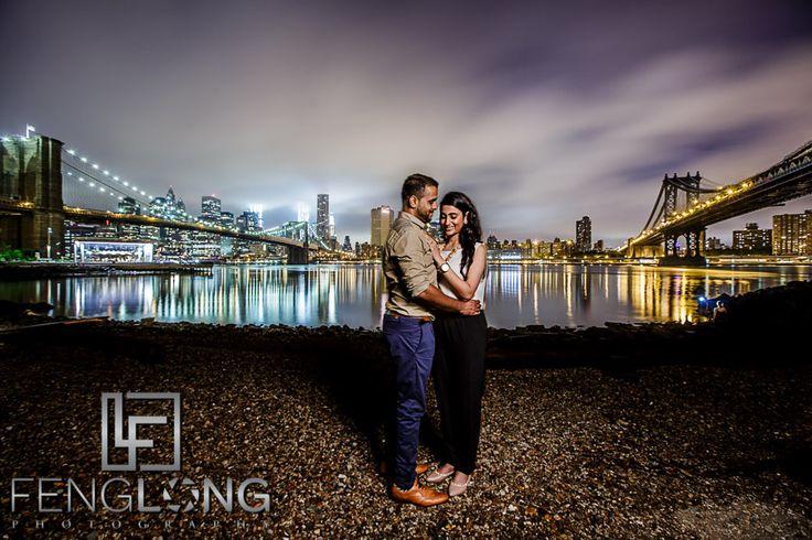 Pre Wedding Photography Nyc: Zeenat & Ayaz's Destination Engagement Brooklyn Bridge