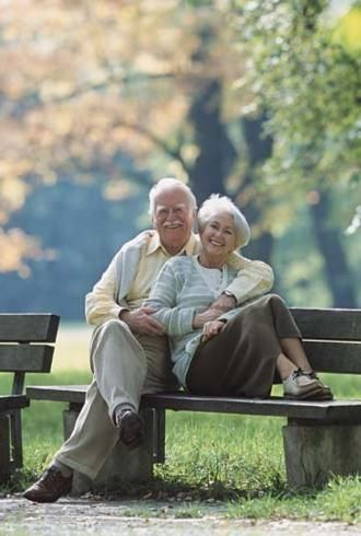 It makes me happy to see an older couple smiling and talking.
