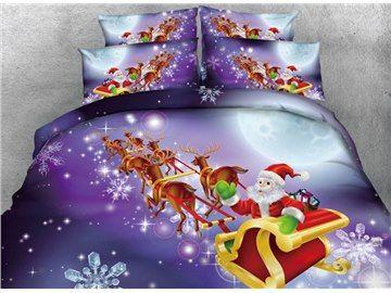 3D Festal Santa and Sleigh Printed Cotton 4-Piece Bedding Sets/Duvet Covers