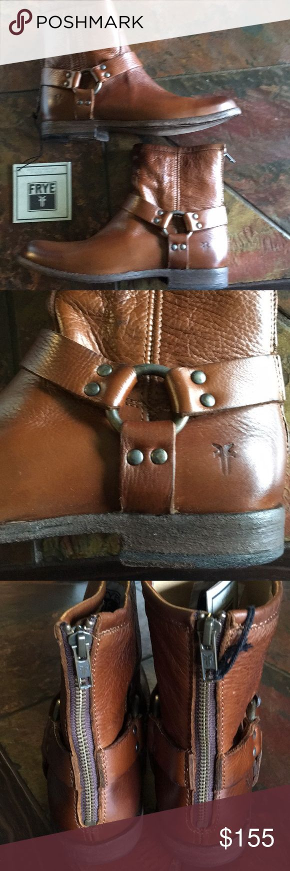 Free Phillip Harness booties Cognac Color, NIB Frye Shoes Ankle Boots & Booties