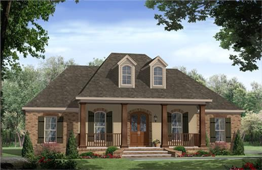 This charming Acadian style home with French Country influences (House Plan #141-1267) has 1888 square feet of living space. The floor plan includes 3 bedrooms.