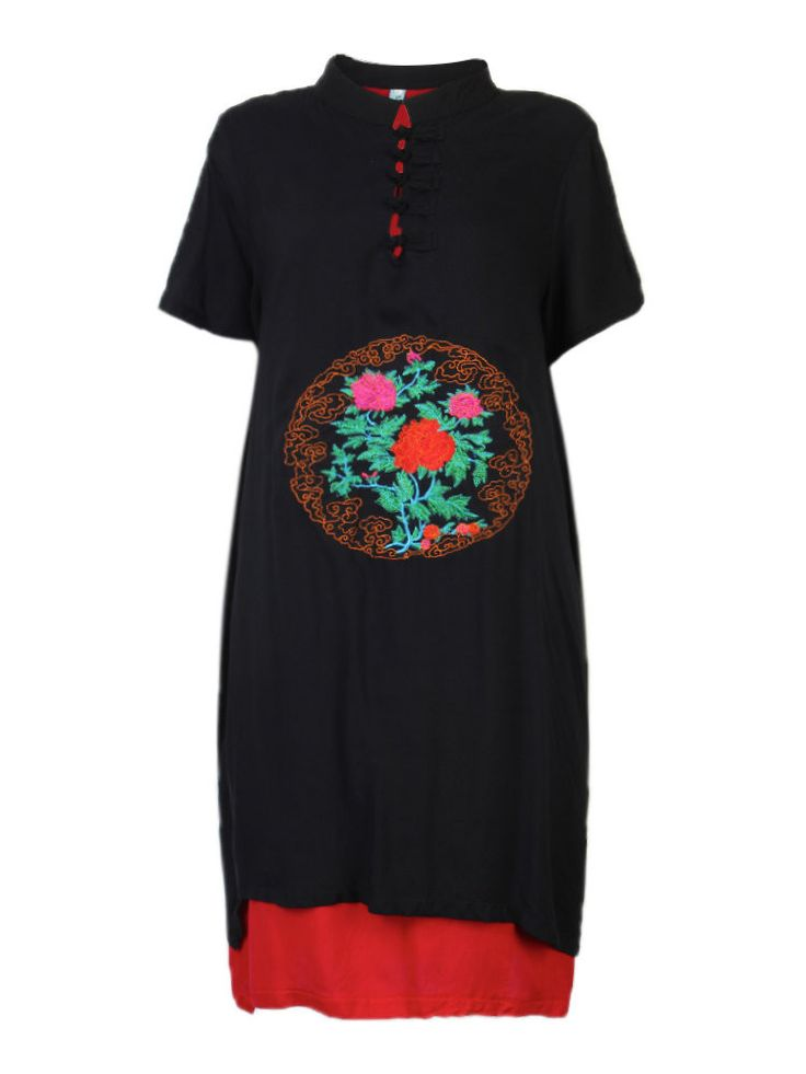 Women Ethnic Style Frog Embroidery Fake Two-piece Dress