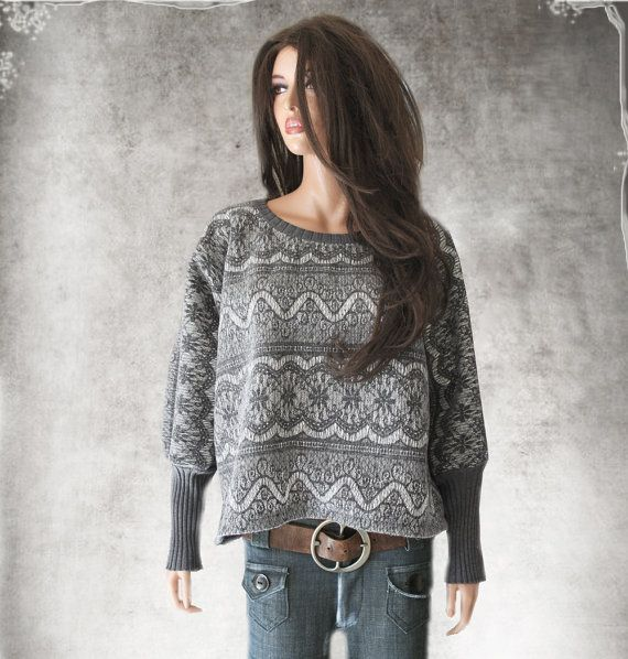 Contemporary sweatshirt gray/Nicole Miller print by tratgirl55