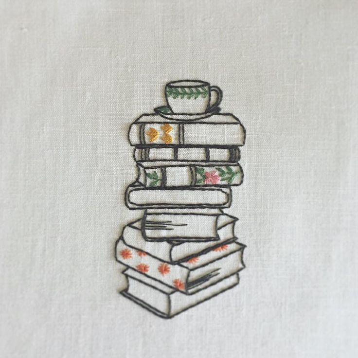 Adorable little stack of books embroidery #booklov…