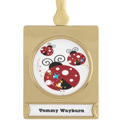 Three red and black ladybug with stars gold plated banner ornament - kids kid child gift idea diy personalize design