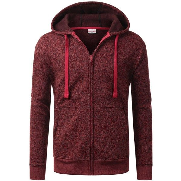URBANCREWS Mens Hipster Hip Hop Long Sleeve Zip-Up Hoodie Jacket (£15) ❤ liked on Polyvore featuring men's fashion, men's clothing, mens clothing, hipster mens clothing and mens apparel