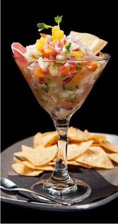 Rock Shrimp Ceviche Serves20 Ceviche Ingredients 1 quart diced 5×5 tomatoes 1 quart diced cucumbers 1/4 cup diced Serrano chiles 1 cup diced red onion 1/2 cup lime juice 1 cup tomato water (blend tomato scraps and strain) 1/3 cup finely chopped cilantro Mix ingredients together in a bowl, salt to taste.  Rock shrimp …