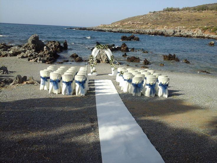 Gorgeous Private Beach Wedding in Crete. Blue & White Decor.
