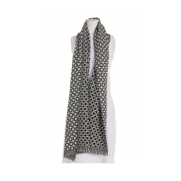 Okishi Black and White Mosaic Scarf from idaretobe Official Stockist (£155) found on Polyvore