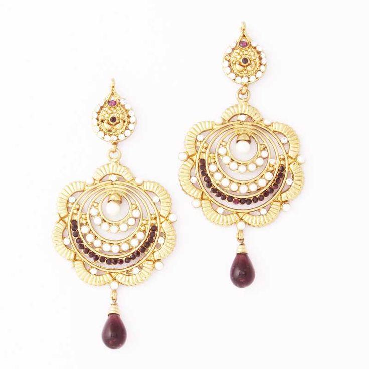 Purple Gold Plated Pearl Earrings