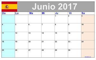 Calendario Mensual Junio 2017 para imprimir gratis
