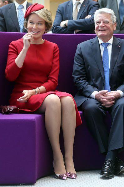 La reine Mathilde de Belgique avec Joachim Gauck à Seraing, le 10 mars 2016