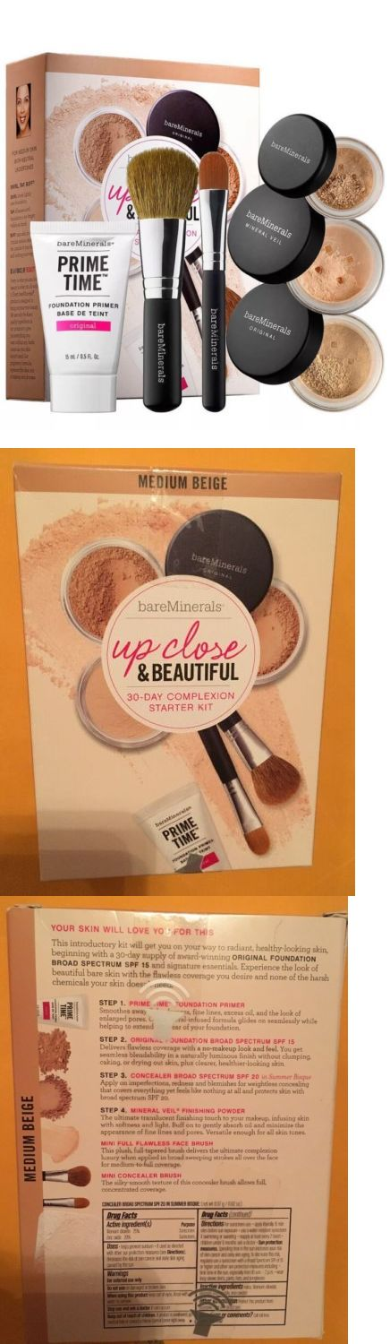 Makeup Sets and Kits: Nib Bare Minerals Up Close And Beautiful 30Day Complexion Starter Kit Medium Beige BUY IT NOW ONLY: $31.0