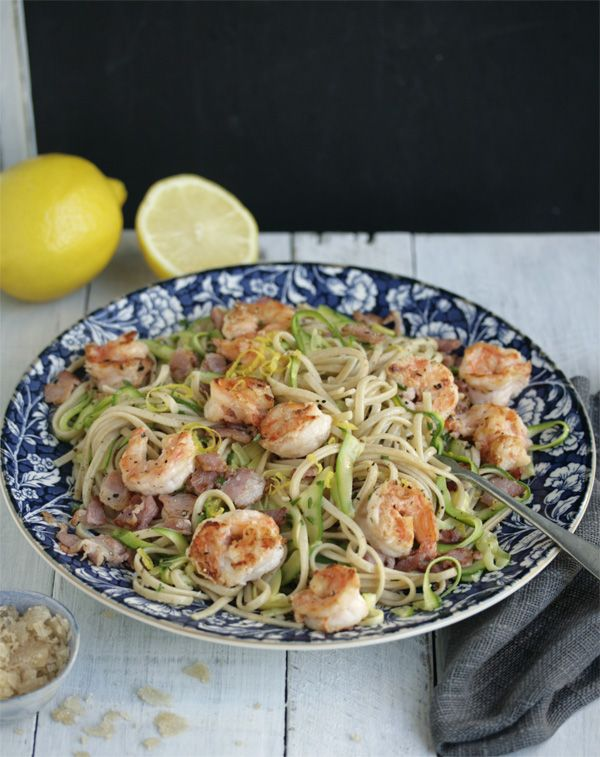 chilli and garlic prawn linguine with bacon, zucchini and lemon