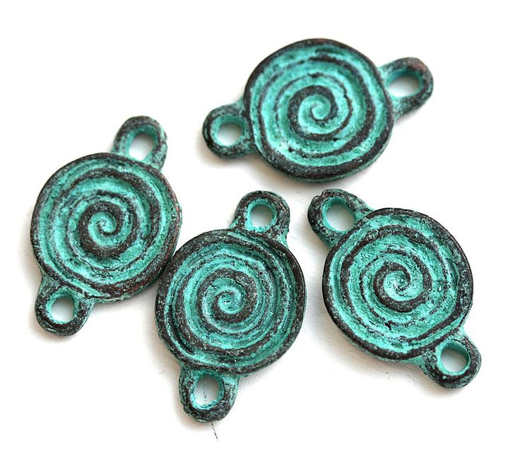 4pc Round Spiral connectors, Earrings Ornament connector, green patina on copper, Greek metal charms - F354 by MayaHoney on Etsy