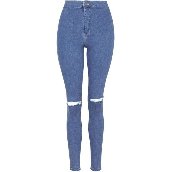TopShop Moto Pretty Blue Ripped Joni Jeans (1.465 UYU) ❤ liked on Polyvore featuring jeans, pants, bottoms, pantalones, calças, blue, high waisted distressed jeans, distressed skinny jeans, stretchy skinny jeans and super high-waisted skinny jeans