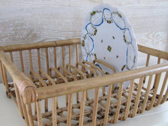 Charming Mid-Century Rattan Dish Rack from billysbungalow on Etsy