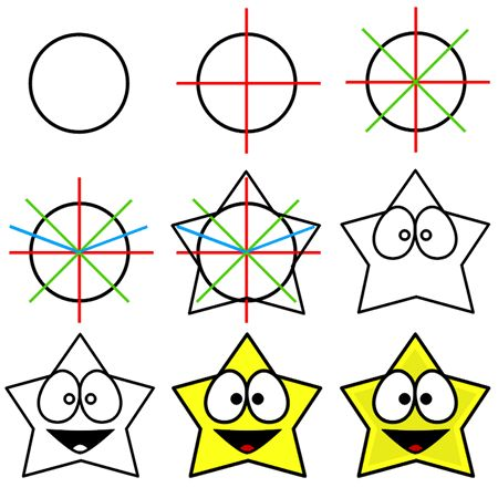 Here is a simple drawing technique that can be used to draw a funny cartoon star! :)
