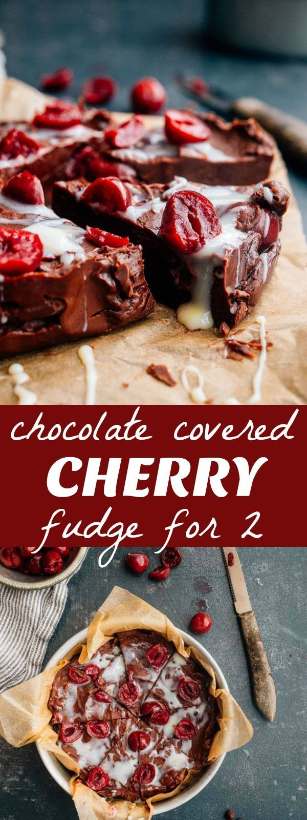 Chocolate cherry fudge for two. Small batch cherry cordial fudge made with sweetened condensed milk. Easy 3 ingredient fudge! #fudge #christmas #baking @EagleBrand via @dessertfortwo