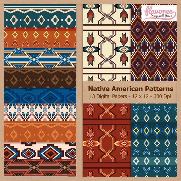 NATIVE AMERICAN PATTERNS - Digital Scrapbooking Paper Pack - Personal and Small Business Use
