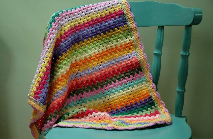 Crochet Granny Stripe Baby Blanket Pattern : 17 beste afbeeldingen over crochet blanket op Pinterest ...