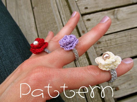 PATTERN PDF Lovely Rosette Ring Crochet by sweetmellyjane on Etsy, $3.00
