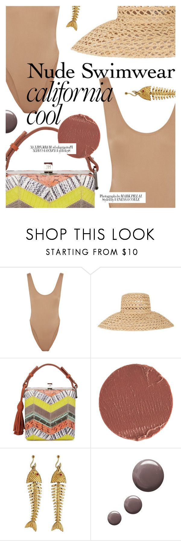 """Bare It All: Nude Swimwear"" by cultofsharon ❤ liked on Polyvore featuring Norma Kamali, Samuji, Jill Haber, Estée Lauder, Tiffany & Co., Karen Millen and Topshop"
