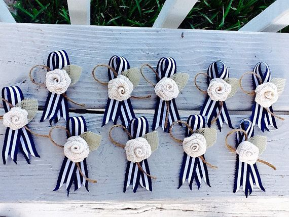 Nautical Boutonniere Navy and White  Stripe by NauticalWeddings