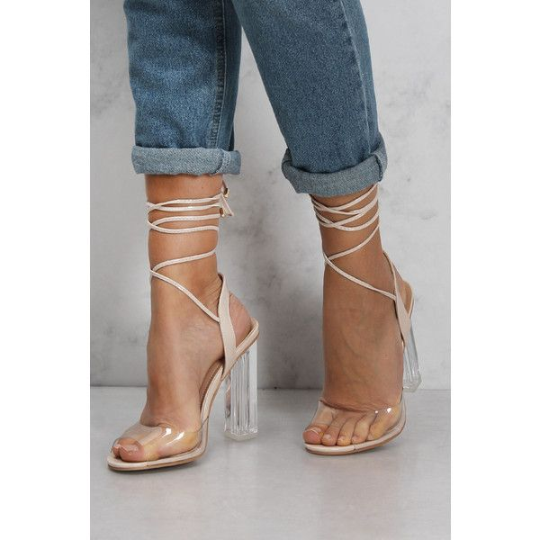 Rare Nude Strappy Perspex High Heels ($49) ❤ liked on Polyvore featuring shoes, pumps, clear high heel shoes, lucite pumps, strap pumps, nude strappy shoes and high heel shoes