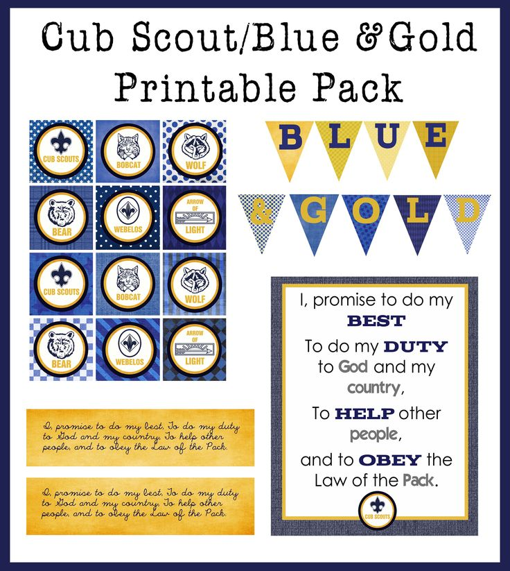 Free Printable Blue & Gold/Cub Scout Printable pack. Includes cupcake toppers, jar wrapper, large bunting, and a sign of the Cub Scout promise.Cub Scouts, Blue Gold, Scouts Blue, Printables Pack, Scouts Printables, Printables Blue, Cubs Scouts, Gold Banquet, Free Printables