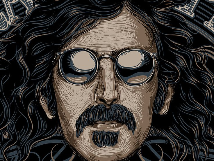 «FRANK ZAPPA» Fragment vector illustration. Artwork series of Kings of rock. Illustration of the print for t-shirts. Not a commercial project. The work is done in programs Adobe Illustrator.шите фото...