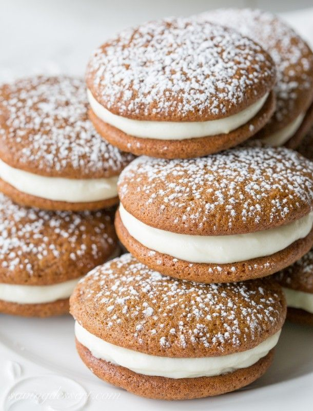GIngerbread Whoopie Pies with Lemon Cream Cheese Filling | www.savingdessert...