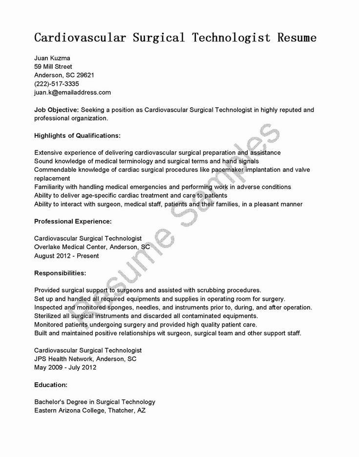 Surgical Technician Resume Examples Best Of Resume Samples Cardiovascular Surgical Technologist Resume Examples Surgical Technologist Medical Assistant Resume