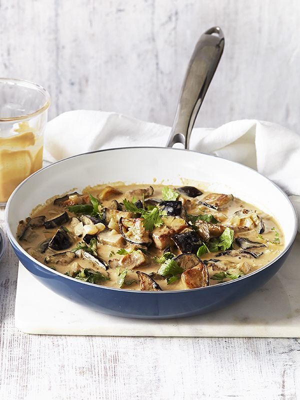Coconut and peanut aubergine curry. This creamy coconut and peanut aubergine curry is vegetarian, under 300 calories and ready in just 30 minutes, making it the perfect comforting meal to make midweek.