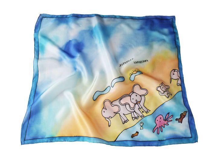 Elefántos kendő egy gyerkőc nagyon cuki rajzából - eredeti ajándék ballagásra tanároknak, óvónéniknek, de akár nagymamáknak is kiváló!  http://silkyway.hu/ajandek-noknek/ajandek-ballagasra-tanaroknak-ovonoknek.html